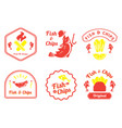 fish and chips retro badge design vector image vector image