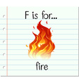 Flashcard letter F is for fire vector image