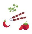 flat barbecue bbq grill symbols set vector image