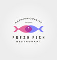 fresh fish restaurant logo symbol design vector image vector image