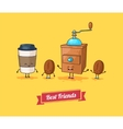 funny cartoon Funny coffee beans ans vector image vector image