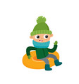 happy teenage in winter clothes on snow tubing vector image