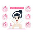 lady cleaning skin care vector image vector image