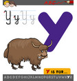 letter y with cartoon yak vector image vector image