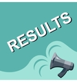 Megaphone with RESULTS announcement Flat style vector image vector image