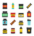 protein sport nutrition icons set flat style vector image vector image