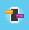 question and answer faq with smartphone and vector image vector image