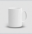 realistic white cup isolated on transparent vector image vector image