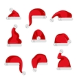 Red Santa Claus hat collection vector image