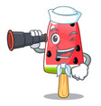 sailor with ice cream watermelon on shape mascot vector image vector image