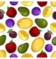 Seamless fresh fruits pattern for food design vector image