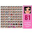 set 81 avatars for girl vector image