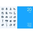 Set of BLUE HAMSTER Library tax icons vector image