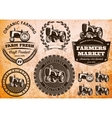 set of labels with a tractor for livestock vector image