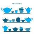 shelves with tea pots and tea cups vector image vector image