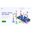 social network landing page vector image vector image
