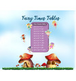 time tables with fairy theme vector image vector image