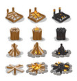tourist campfire collection with flame on white vector image vector image