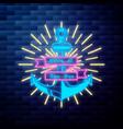 vintage pirate emblem glowing neon vector image