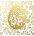 happy easter greeting lettering on golden seamless vector image
