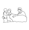 gay family with a child and dog vector image