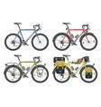 configurations of trekking bicycles vector image