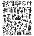 people lifestyle doodles set vector image
