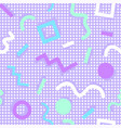 memphis pattern shapes colors purple background vector image