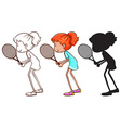 A sketch of a young girl playing badminton vector image vector image