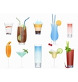 Alcohol cocktails and other fresh drinks vector image vector image