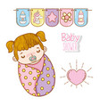baby girl shower with party flags and heart vector image
