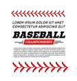 baseball ball text frame on white background vector image vector image