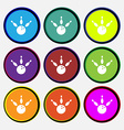 bowling icon sign Nine multi colored round buttons vector image vector image