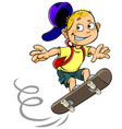 Boy skateboarding vector image