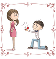 Boyfriend and Girlfriend Getting Engaged Cartoon vector image