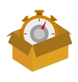 cardboard box with chronometer icon vector image vector image