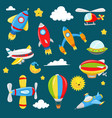 cartoon air transportation collection vector image