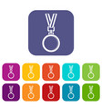cat medal icons set flat vector image vector image