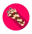 Chocolate wafer straws icon in flat style isolated vector image