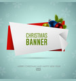 christmas origami banner with christmas balls vector image vector image