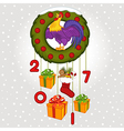 Christmas wreath with symbol 2017 rooster vector image vector image