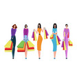 collection of people carrying shopping bags with vector image vector image