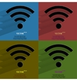 Color set WI-FI Flat modern web button with long vector image