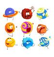 colorful cartoon planets with funny faces and vector image