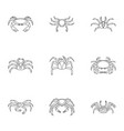 crab icons set outline style vector image vector image