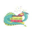 Cute dragon with stack of books vector image vector image
