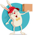 delivery bunny with cardboard box cartoon vector image vector image