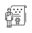 doctor ratings - line design style single isolated vector image