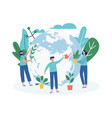 ecological banner with ecologists planting trees vector image vector image