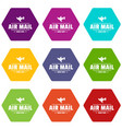 express air mail icons set 9 vector image